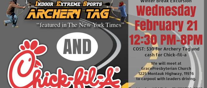 Grace Youth: Archery Tag & Chick-fil-a - Feb 21 2018 12:30 PM